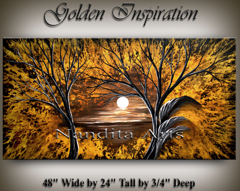 Oil Painting, Landscape Golden Art Modern Art, Golden Inspiration 48 24