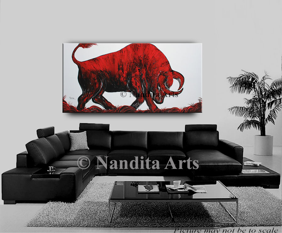 Bull, Bull Art, Bull Artwork, Bull Painting Original Art by Nandita Albright