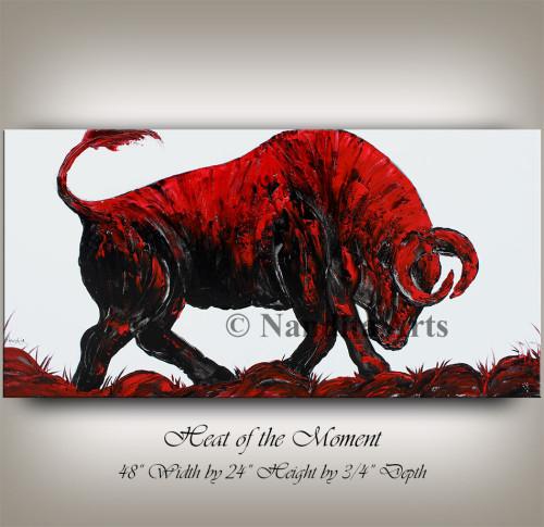 bear market, new york stock, animal art, red bull painting, original bull artwork