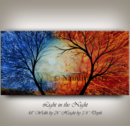 Landscape Painting, Landscape Art, Red and Blue Artwork by Nandita Albright