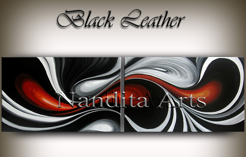 Oil Painting, Wave Black Red Modern Art, Black Leather 72 24