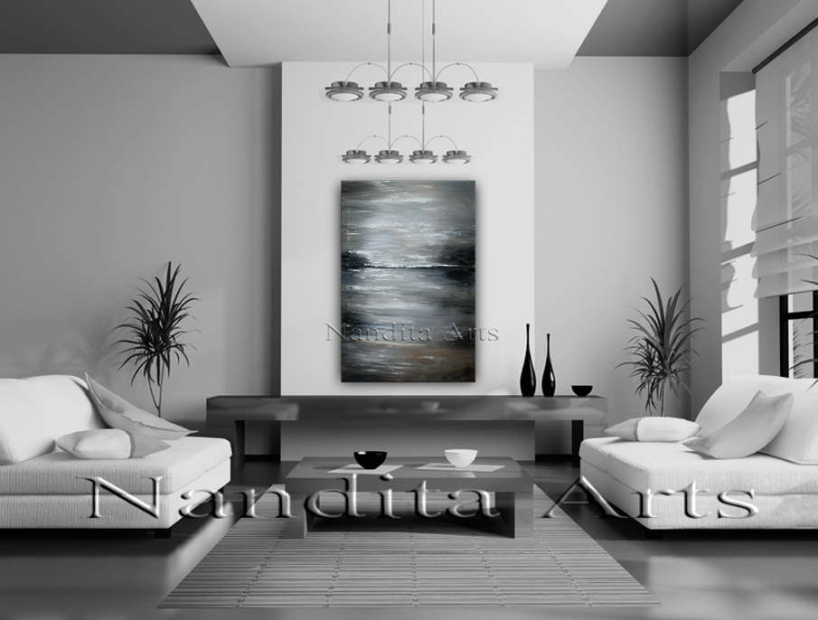 At The Coast abstract gray painting by Nandita Alrbght