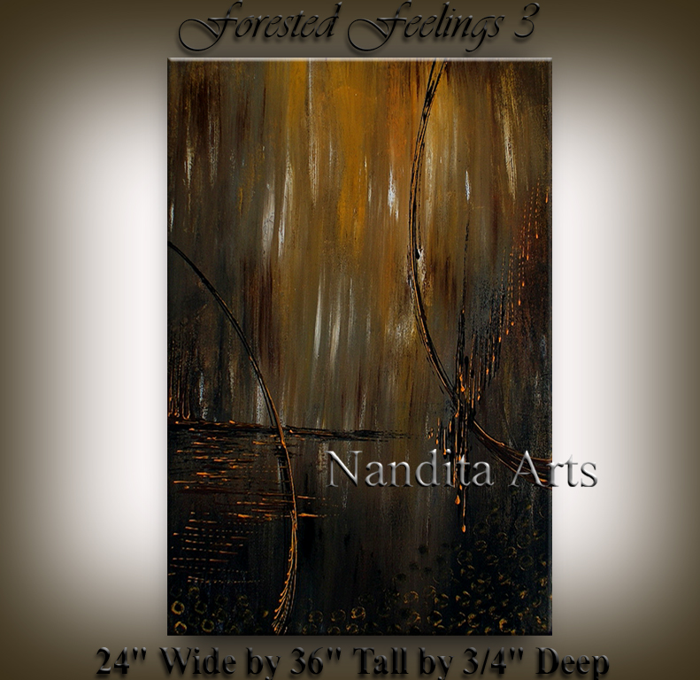 Forested Feelings 3, Abstract Art, Sunset modern art by Nandita Albright