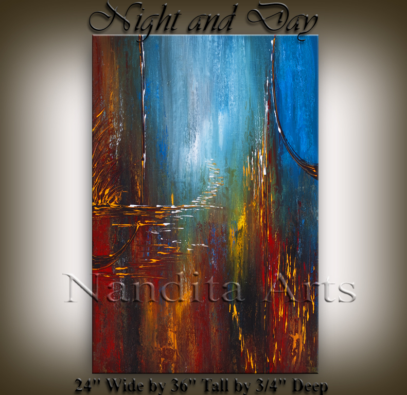 """Night and Day"" Abstract landscape art by Nandita Albright"