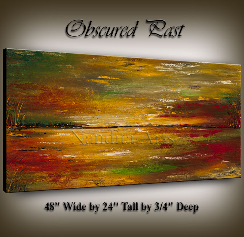 """Obscured Past"" Abstract Sun set Painting by Nandita Albright"