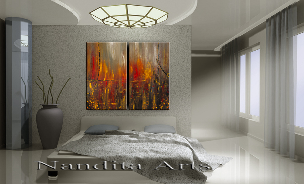 """""""Past and Future"""" Abstract Modern Painting by Nandita Albright"""