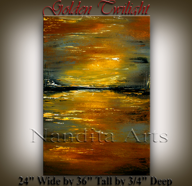 Golden Twilight beautiful sunset painting by Nandita Albright
