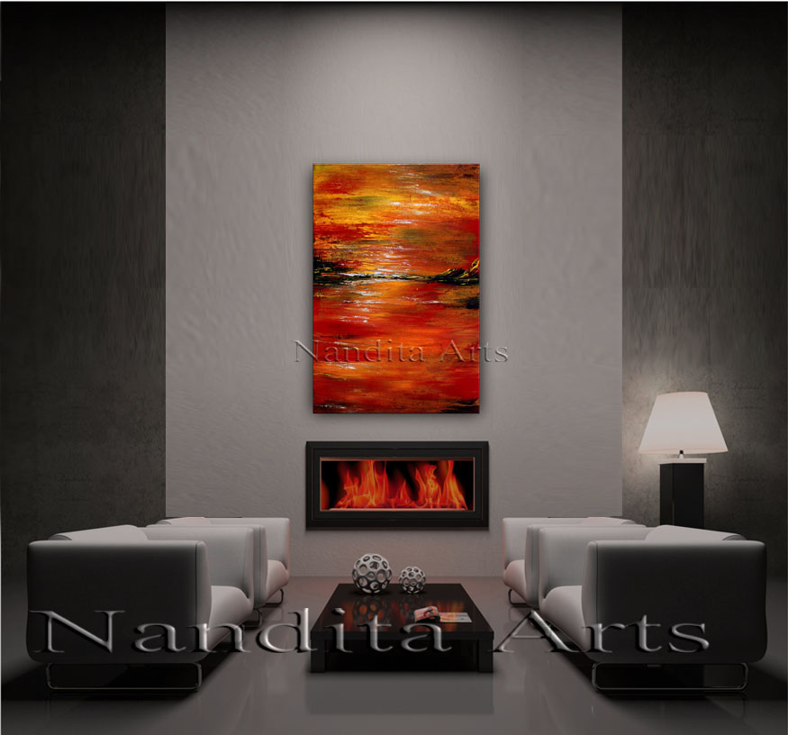 Emotions Expressed Abstract landscape painting by nandita albright