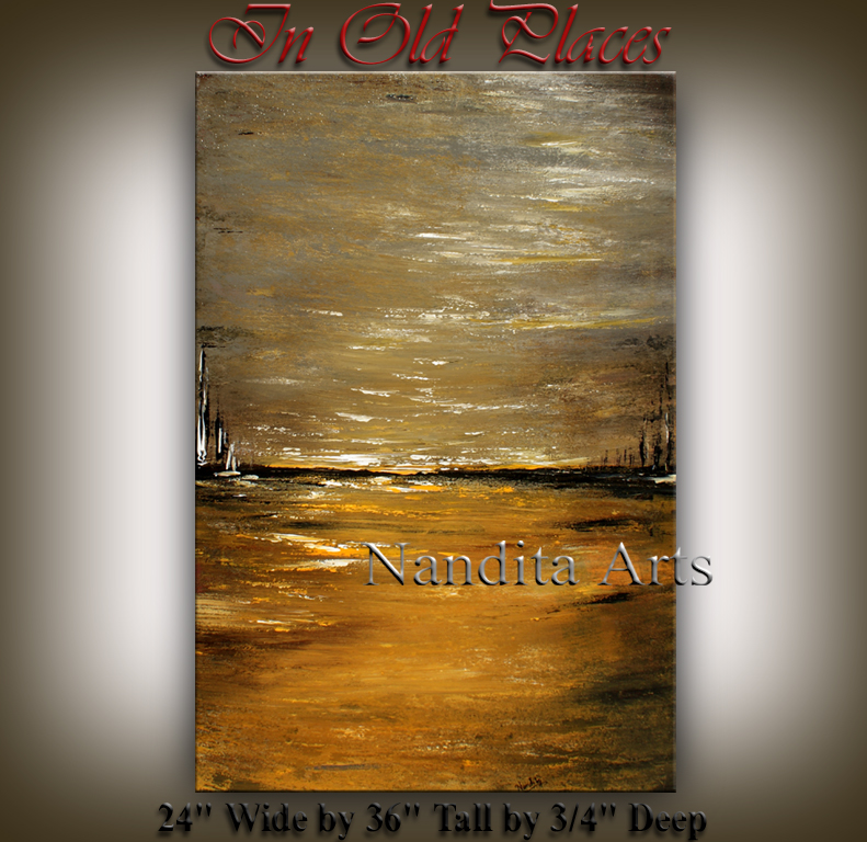 In Old Places Gold landscape painting by Nandita Albright