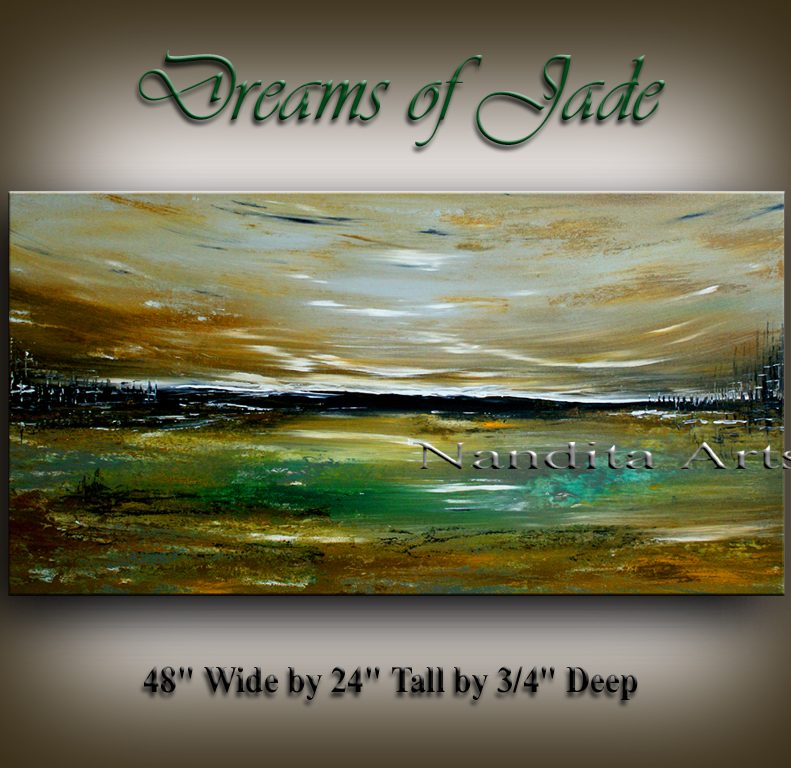 Dreams of Jade, Landscape sunset original modern art by Nandita Albright