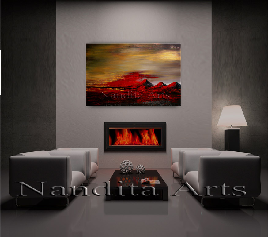 Across Unknown Lands | landscape modern art | Painting by Nandita Albright