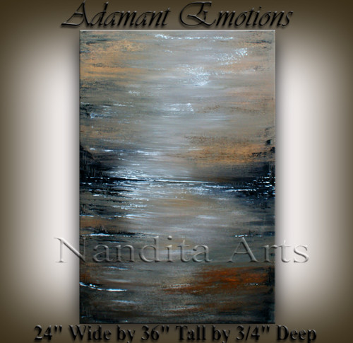 Adamant Emotion Abstract Gray Painting by Nandita Albright
