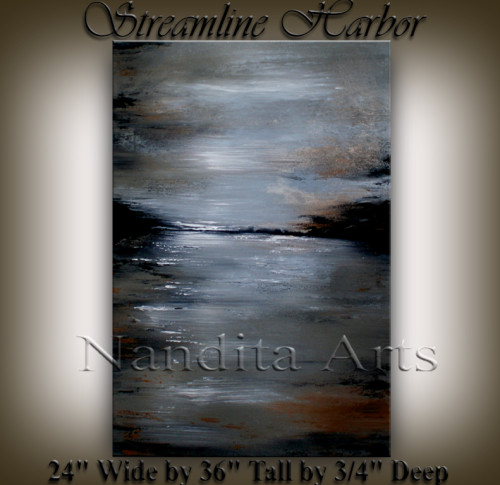 Streamline Harbor Abstract Art Artwork by Nandita Albright