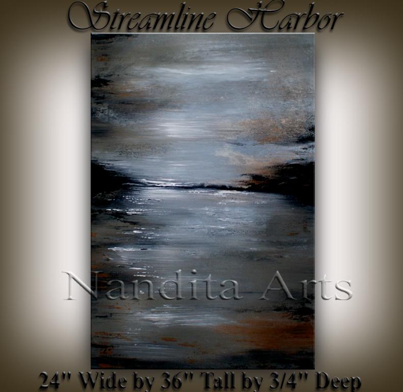 Streamline Harbor Abstract Art Artwork by Nandita Albright
