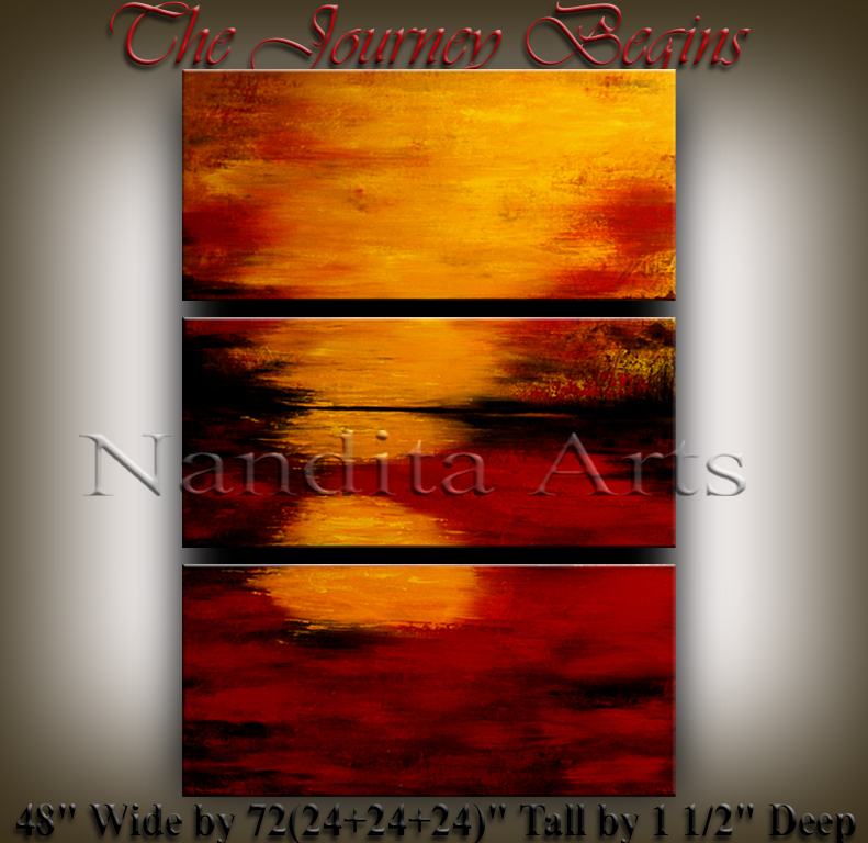 The Journey Begins Abstract sunset modern art by Nandita Albright