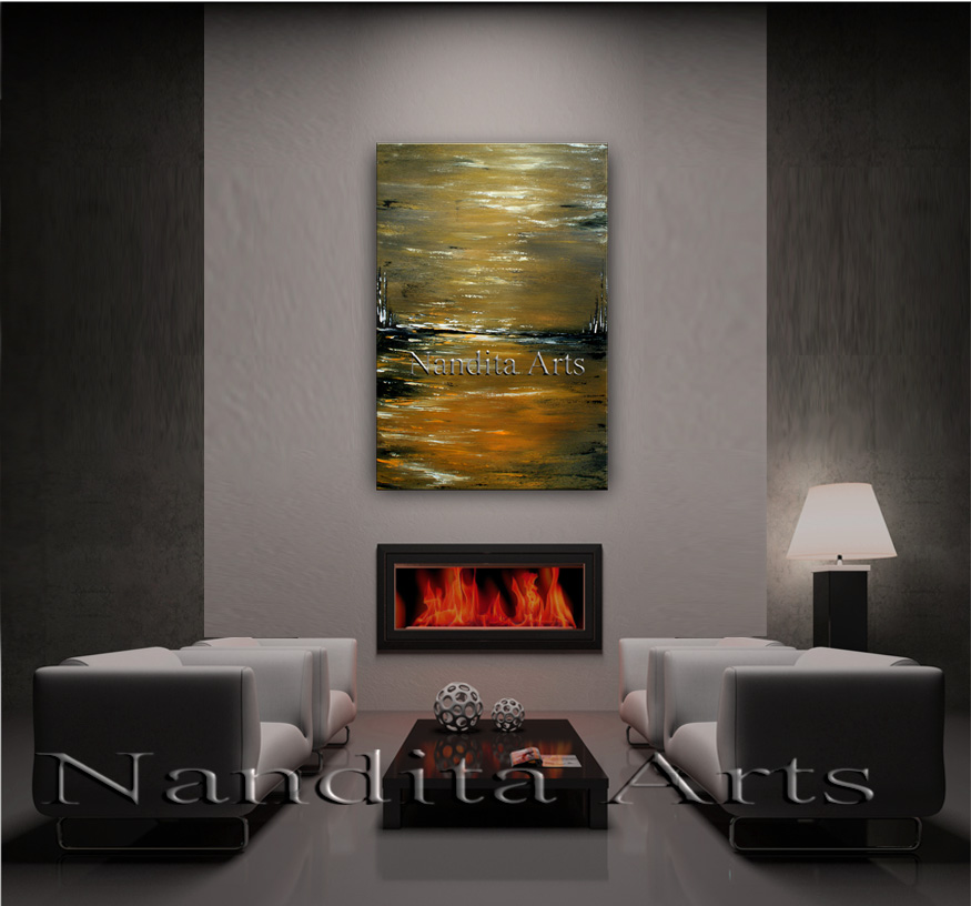 Walking in the Abstract landscape paintings by Nandita Albright