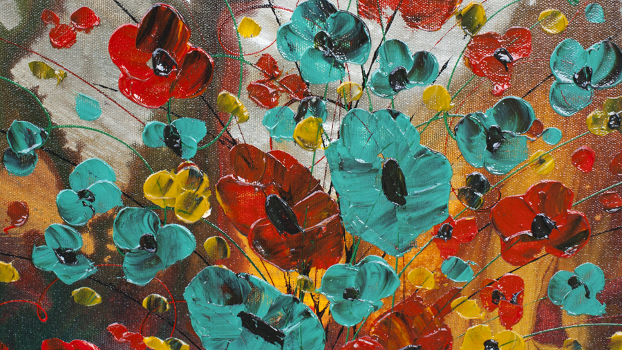 The Wonders of Happiness Floral modern art gallery by nandita albright
