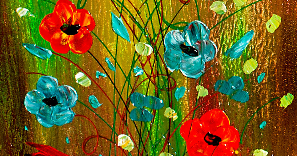 Life is a Wonder modern floral art by nandita