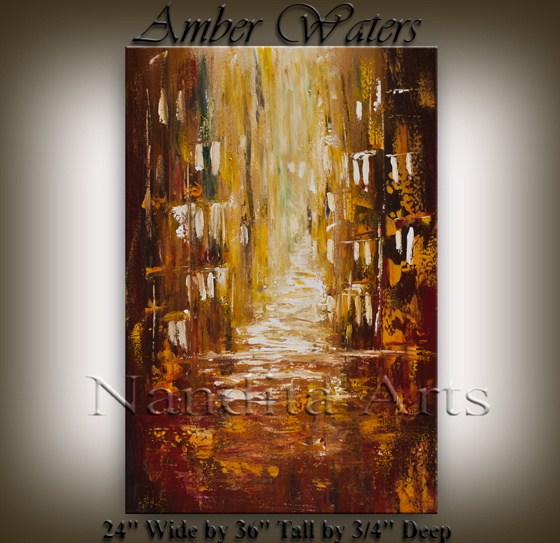 Amber Waters | Abstract Cityscape Art | Painting by Nandita Albright