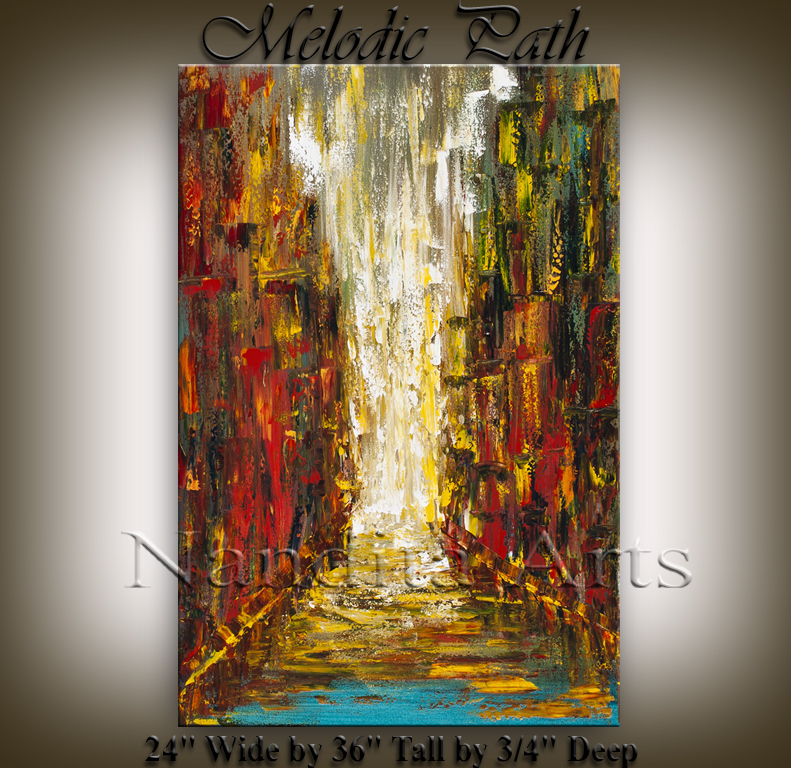 Melodic Path Cityscape painting, modern artwork by nandita albright