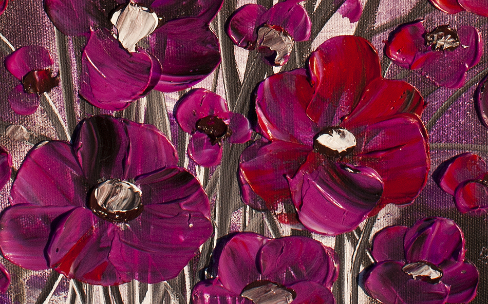Purple Blessings Floral paintings by Nandita Albright