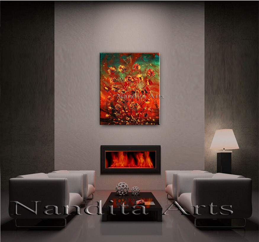 Golden Beauty red floral painting landscape by Nandita Albright