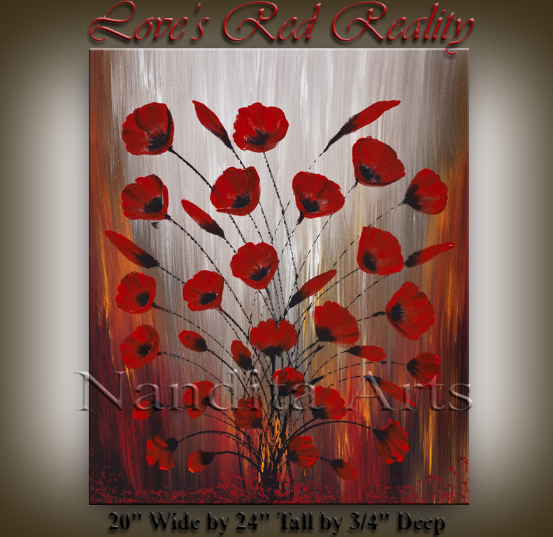 Love's Red Reality, floral poppies art by Nandita