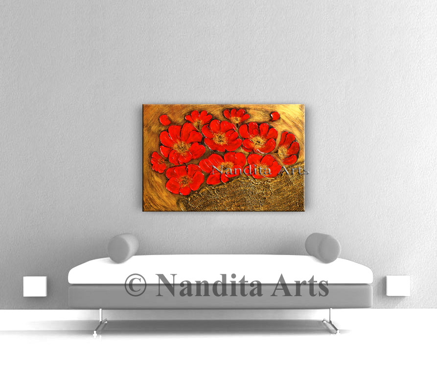Original Red Flower Art on canvas
