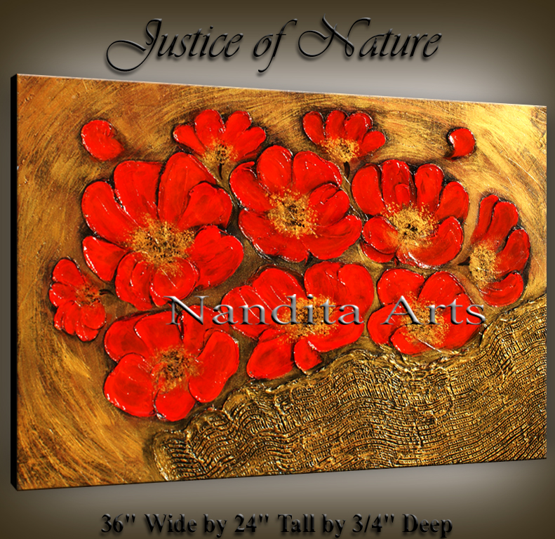 Justice of Nature red texture floral art by Nandita Albright