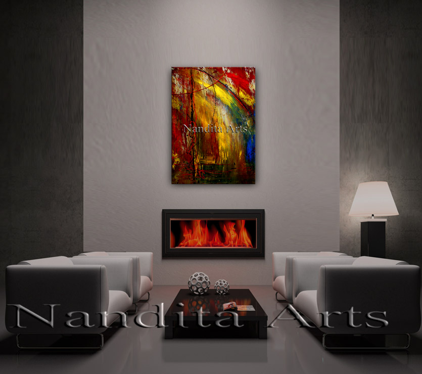 Rainbow Forest Abstract, Modern, Painting, artwork by Nandita Albright