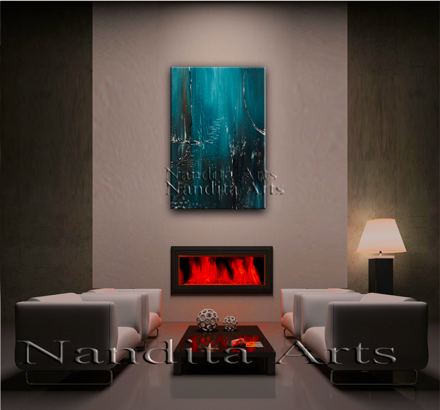"""Nautical Motion"" Abstract Art blue Painting by Nandita Albright"