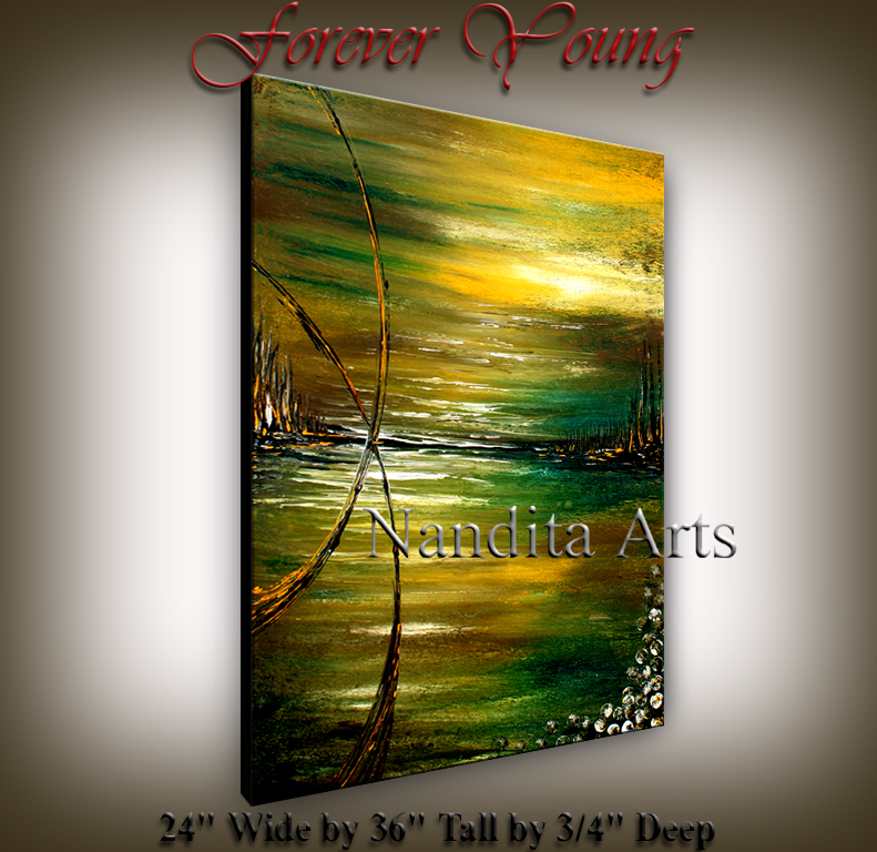 Forever Young Abstract green landscape art by Nandita Albright