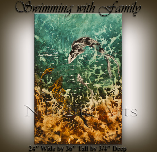Swimming with Family seascape modern art gallery by Nandita Albright