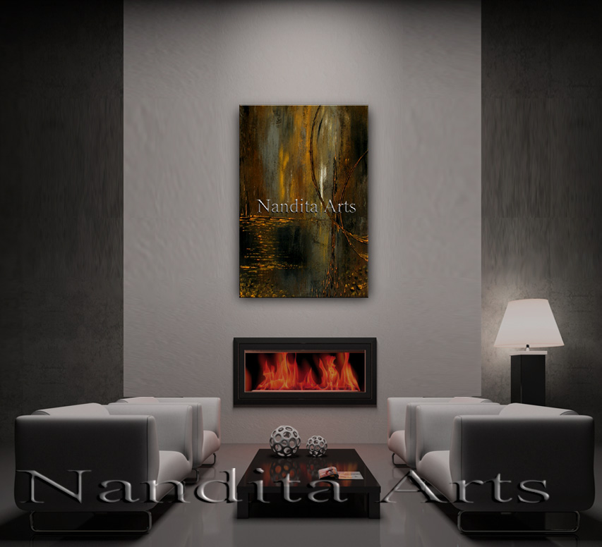 Forested Feelings Abstract modern artwork sunset painting by Nandita Albright