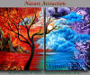 Modern art, Landscape, tree, sunsets, red painting on canvas by Nandita