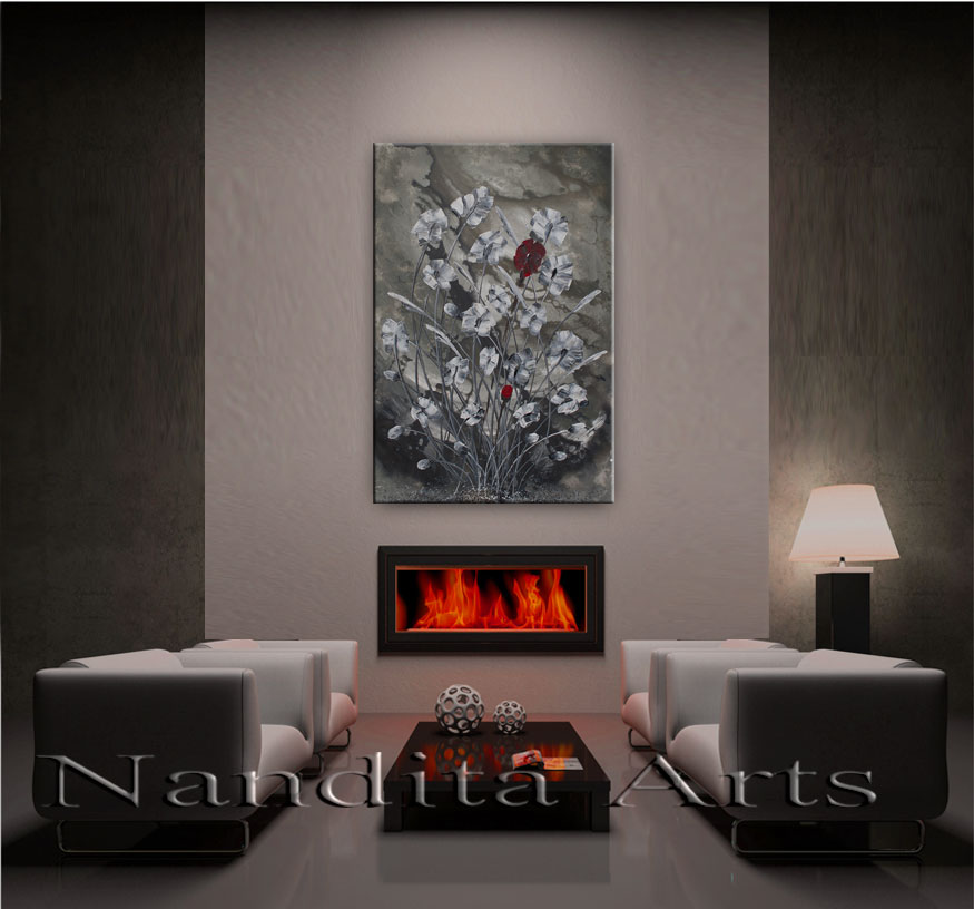 Change in the Stagnant texture white floral art by Nandita Albright