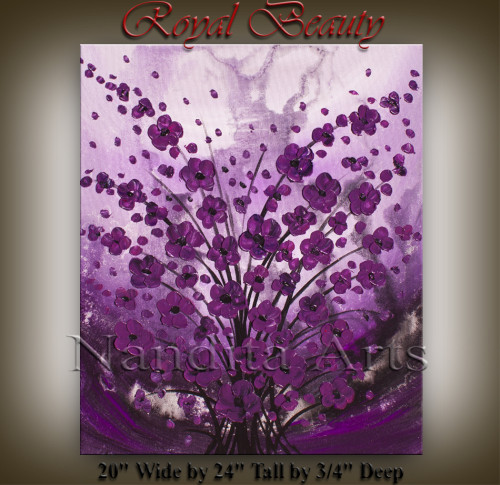 Flower Art Royal Beauty Purple Painting by Nandita Albright