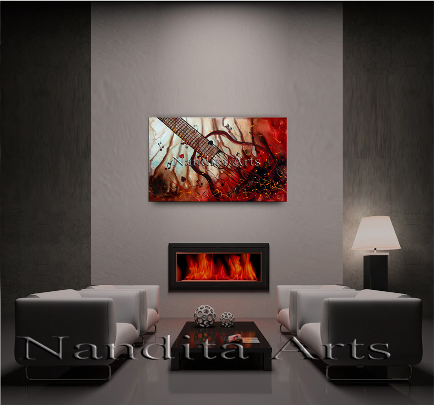 Red Beautiful Moder Comfort In Melody Guitar Painting by Nandita Albright