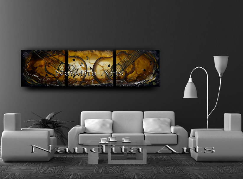 Golden guitar wall art Duality of Passion Abstract Painting by Nandita Albright
