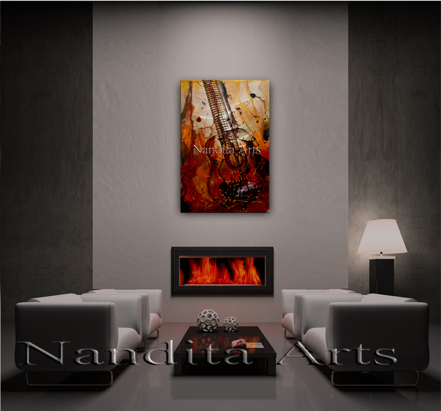 Guitar Art Strumming Of The Heart Painting by Nandita Albright