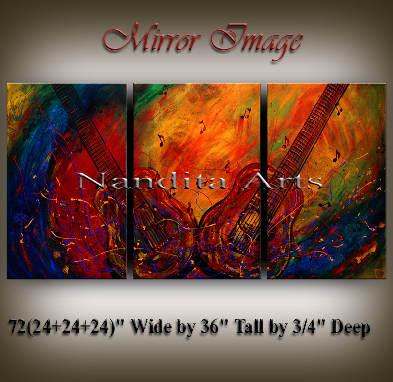 Music Art Mirror Image Guitar painting by Nandita Albright