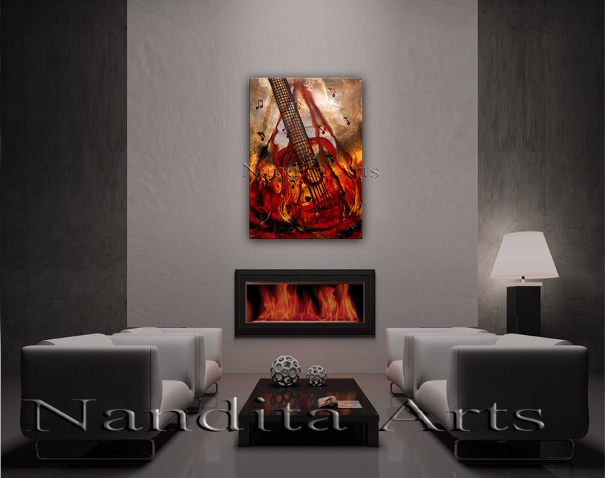 Modern Guitar Art Strings Of Passion Painting by Nandita Albright