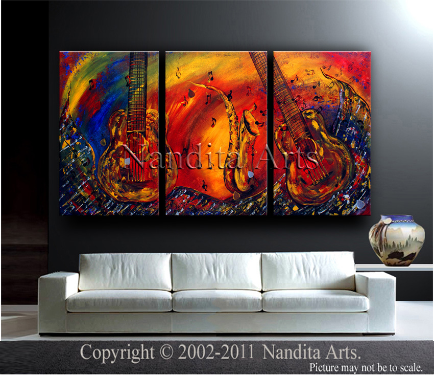 Large Modern Art Complexity Of Sound Paintings by Nandita Albright