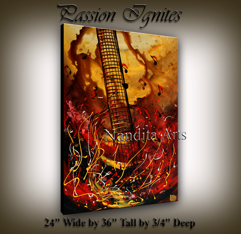 Modern Guitar Painting Passion Ignites Red art by Nandita Albright