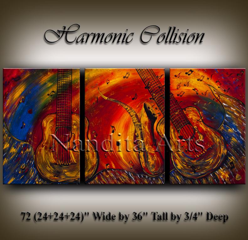 Guitar art Harmonic Collision painting by Nandita Albright