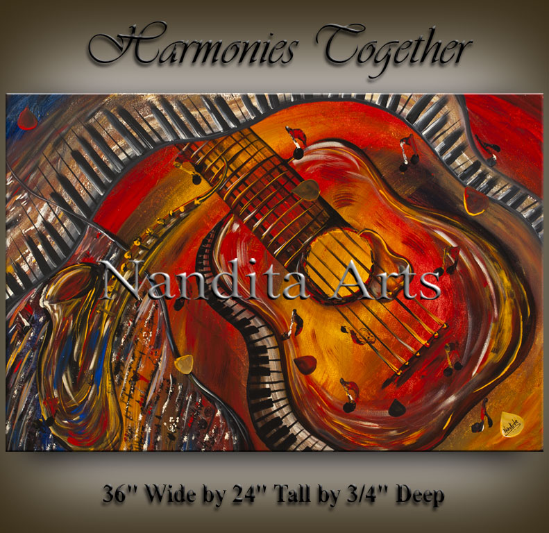 Guitar painting Harmonies Together guitar art by Nandita Albright