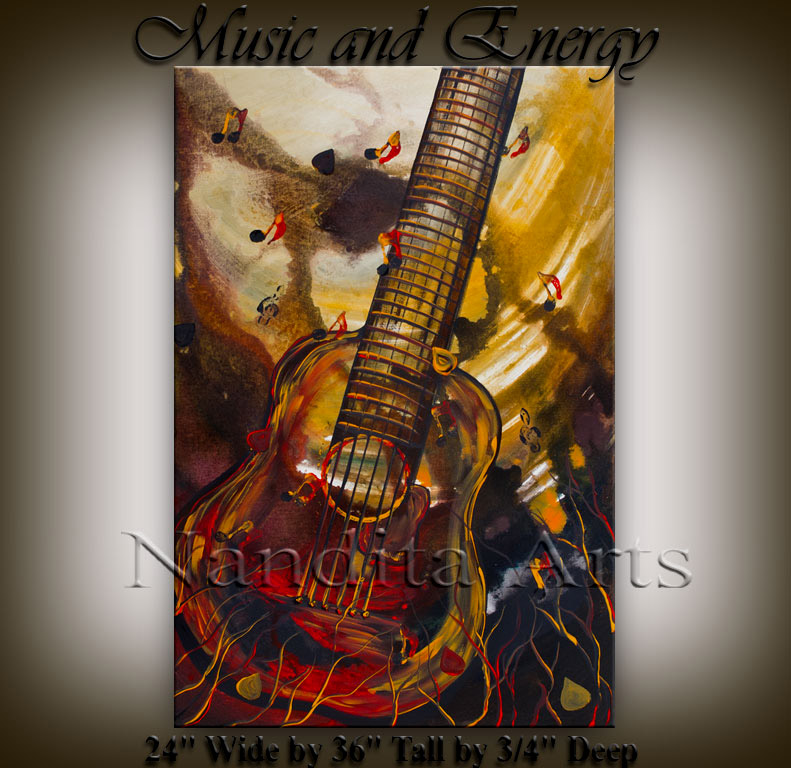 Music art Music and Energy music guitar painting by Nandita Albright