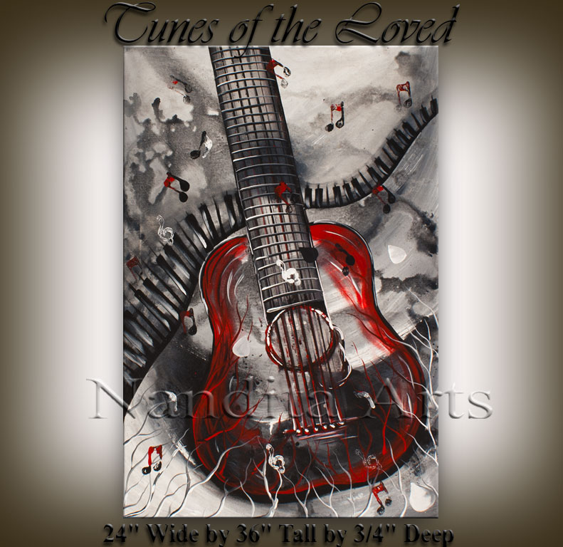 Music art Tunes of the Loved guitar painting by Nandita Albright