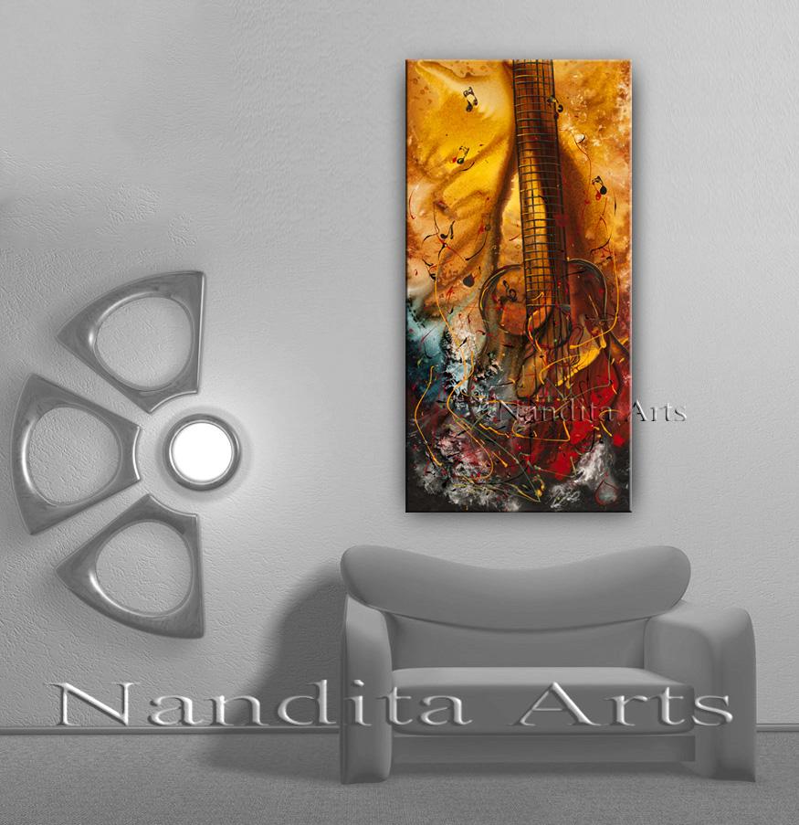 Modern Guitar Art, Painting by Nandita Albright