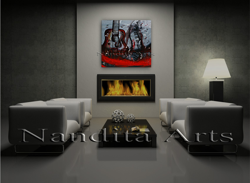 Midnight Choir red guitar painting by Nandita Albright